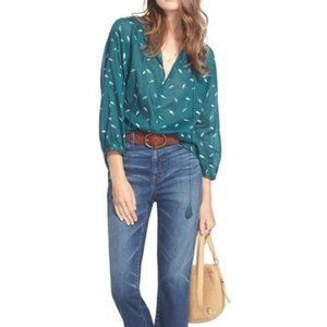 MADEWELL Falling Feathers Teal Peasant Blouse